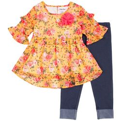 Little Lass Toddler Girls Ruffle Floral Denim Leggings Set
