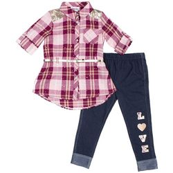 Little Lass Toddler Girls Plaid Love Leggings Set