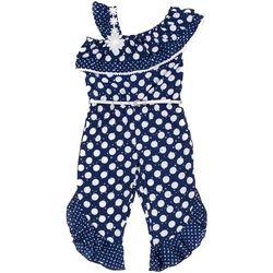 Little Lass Toddler Girls Dot Print Jumpsuit