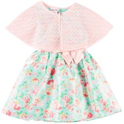 Little Lass Toddler Girls Floral Dress Cape Set