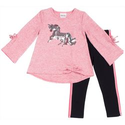 Little Lass Toddler Girls Sequin Unicorn Bow Leggings Set