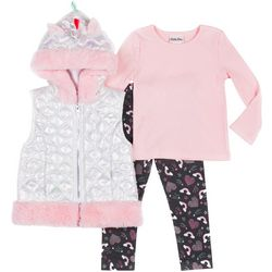 Little Lass Toddler Girls 3-pc. Unicorn Puffer Vest Set