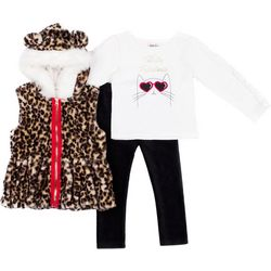 Little Lass Toddler Girls 3-pc. Faux Fur Leopard Vest Set