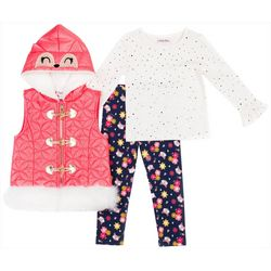 Little Lass Toddler Girls 3-pc. Owl Puffer Vest