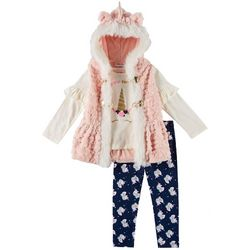 Little Lass Toddler Girls 3-pc. Furry Unicorn Vest Set