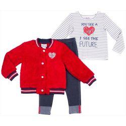 Little Lass Toddler Girls 3-pc. Sequin Heart Jacket Set