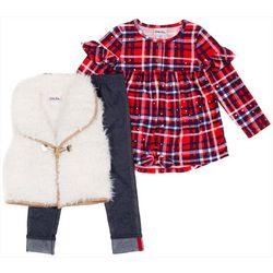 Little Lass Toddler Girls 3-pc. Shag Vest & Leggings Set