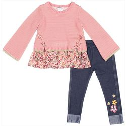Little Lass Toddler Floral Border Print Leggings Set