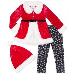 Little Lass Toddler Girls 3-pc. Tunic Santa & Leggings Set