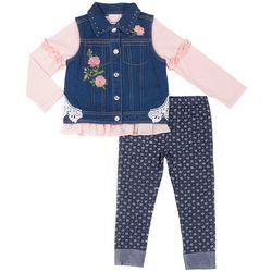Little Lass Toddler Girls 3-pc. Rose Vest Leggings Set