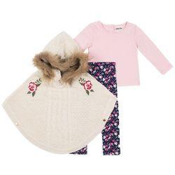 Little Lass Toddler Girls 3-pc. Floral Poncho Leggings Set