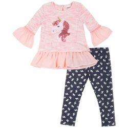 Little Lass Toddler Girls Unicorn Chiffon Leggings Set