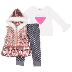 Little Lass Toddler Girls 3-pc. Heart Puff Vest Leggings Set