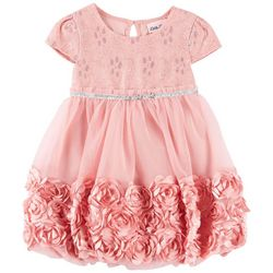 Little Lass Toddler Girls Floral Lace Rosette Border Dress