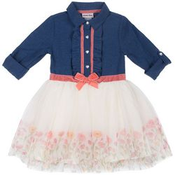 Little Lass Toddler Girls Chambray Floral Tulle Dress