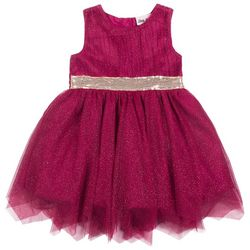 Little Lass Toddler Girls Sequined Sparkle Dress