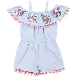 Betsey Johnson Toddler Girls Embroidered Chambray Romper