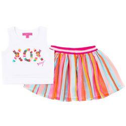 Betsey Johnson Toddler Girls Stripe Fringe Skooter Skirt Set
