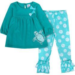 Sunshine Baby Toddler Girls Sea Turtle Ruffle Hem Pants Set