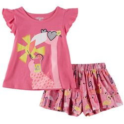 Kidtopia Toddler Girls 2-pc. Tropical Flamingo Short Set