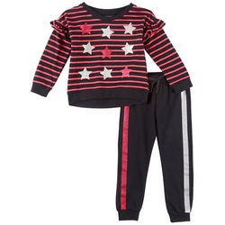 Kidtopia Toddler Girls Stripes & Stars Jogger Pants Set