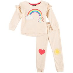 Kidtopia Toddler Girls Rainbow Hearts Jogger Pants Set