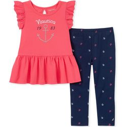 Nautica Toddler Girls Anchor Ruffle Sleeve Leggings Set