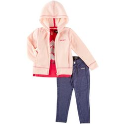 DKNY Toddler Girls 3-pc. Love Hooded Sweatshirt Set