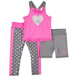 Body Glove Toddler Girls 3-pc. Sparkle Heart Leggings Set