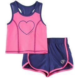Body Glove Toddler Girls Active Heart Tank Shorts Set