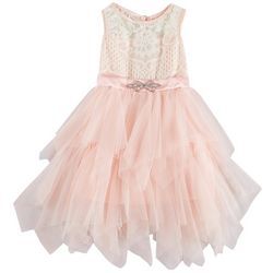 RMLA Toddler Girls Lace Mesh Jewel Waist Sleeveless Dress