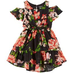 RMLA Toddler Girls Floral Chiffon Cold Shoulder Dress