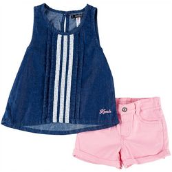 Kensie Toddler Girls Denim Pleated Tank Shorts Set