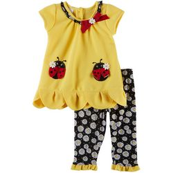 Nannette Toddler Girls 2-pc. Ladybug Daisy Leggings Set