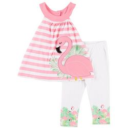 Nannette Toddler Girls Stripe Flamingo Leggings Set