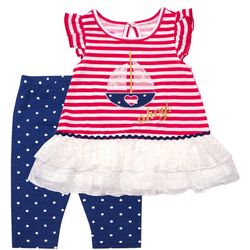 Nannette Toddler Girls Stripe Boat Dot Leggings Set