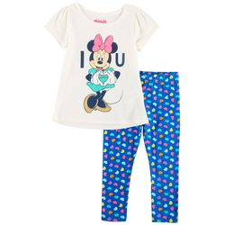 Disney Minnie Mouse Toddler Girls I Love You Leggings Set