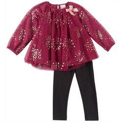 Nannette Toddler Girls Heart Tulle Top Leggings Set