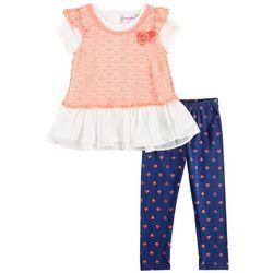 Nannette Toddler Girls Crochet Overlay Heart Leggings Set