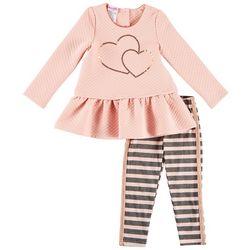 Nannette Toddler Girls Sequined Hearts Stripe Leggings Set