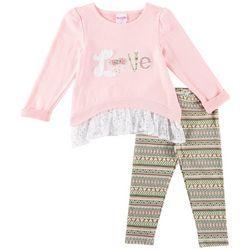 Nannette Toddler Girls Love Lace Leggings Set
