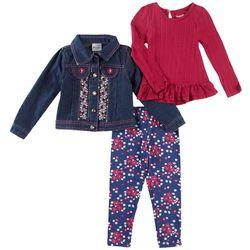 Nannette Toddler Girls 3-pc. Floral Jean Jacket Leggings Set