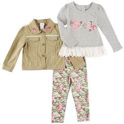 Nannette Toddler Girls 3-pc. Sweet Jacket Leggings Set
