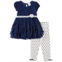 Nannette Toddler Girls Floral Lace Tiered Dress Leggings Set