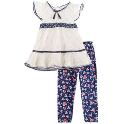 Nannette Toddler Girls Floral Lace Heart Leggings Set