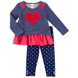 Nannette Toddler Girls Rosette Heart Leggings Set