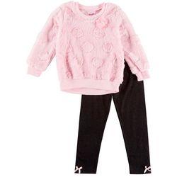Nannette Toddler Girls Dot Faux Fur Sweater Leggings Set