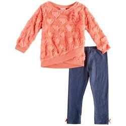 Nannette Toddler Girls Heart Faux Fur Sweater Leggings Set