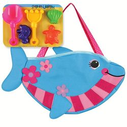 Stephen Joseph Girls Dolphin Beach Tote & Sand Tools