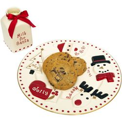 FAO Schwarz 2-pc. Santa's Milk & Cookie Ceramic Plate Set